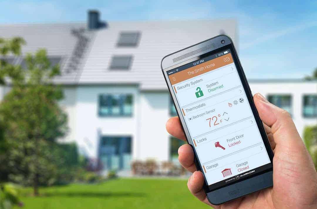 Home automation, thermostat, door locks, garage door, alarm system