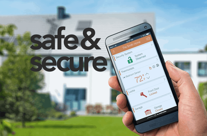 Smartphone home security app keeping your home safe.
